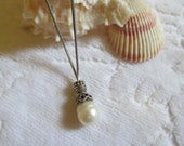 Vintage Pearl Pendant Necklace Sterling Silver