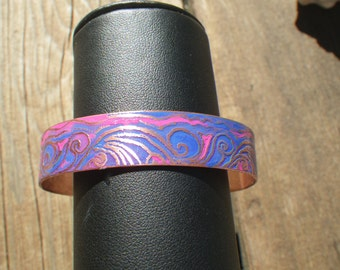 Swirly Q blue and pink copper bracelet