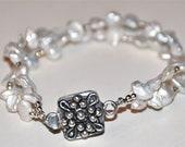 Dainty Double Stranded White Keshi Pearl Bracelet--Reserved for Amber