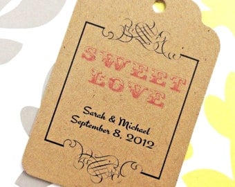 Custom Sweet Love Wedding Tags - Kraft Cardstock