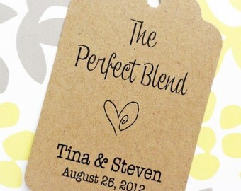 Custom Perfect Blend Wedding Favor Tags - - 5o tags - Kraft Cardstock