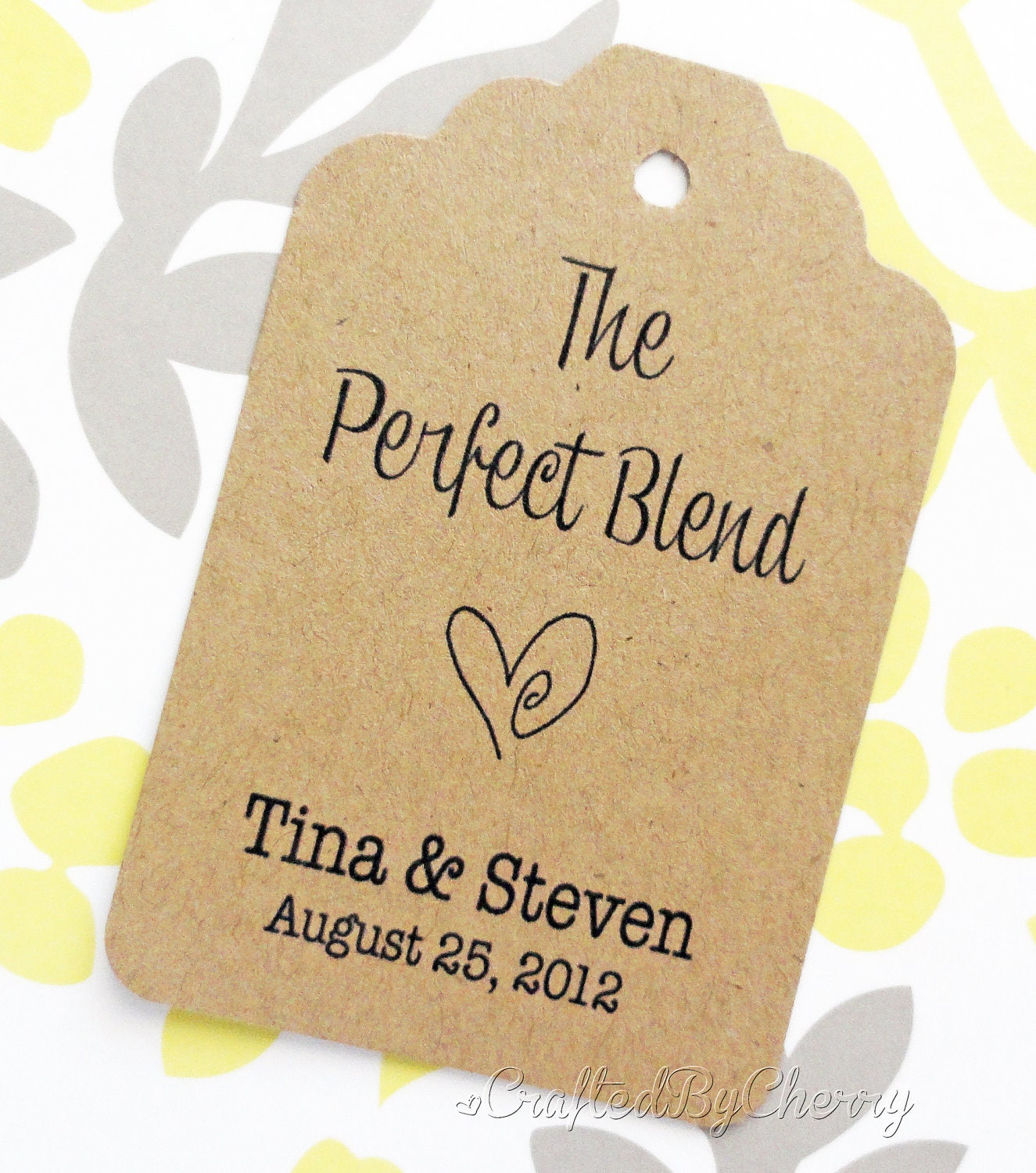 Wedding Gift Sticker Template : Custom Perfect Blend Wedding Favor Tags Kraft Cardstock