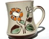 60s Daisy Coffee Mug in Chocolate Brown White Mint Green and Stone - Cute Little Joyful Cup