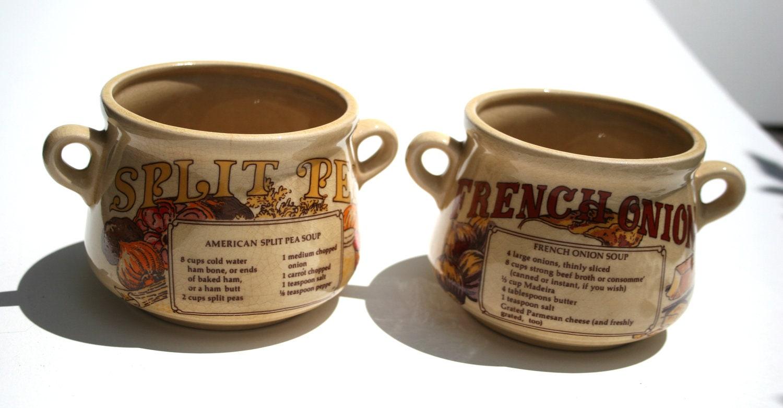 70s Vintage Stoneware Soup Mugs Double Handle Crackle Finish