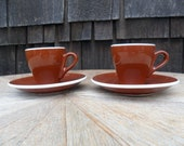 Pair of Doppio Espresso Cups and Saucers - Brown and White - Made in Italy