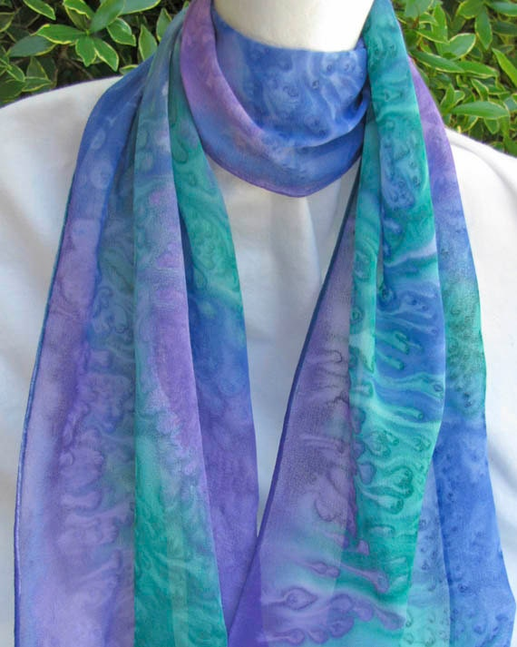 Hand Painted Hand Dyed Silk Scarf