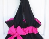 Black and hot pink bag with super cute bow detail - great for bridesmaids - customize your colors