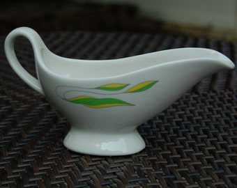 Syracuse China Gravy Boat Restaurant Ware - Green and Yellow Leaves