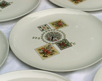 Taylor Smith Taylor Vintage Ever Yours Shape - Brocatelle Pattern - Set of 4 Dinner Plates