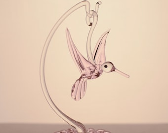 Hand Blown Glass Hummingbird with Stand