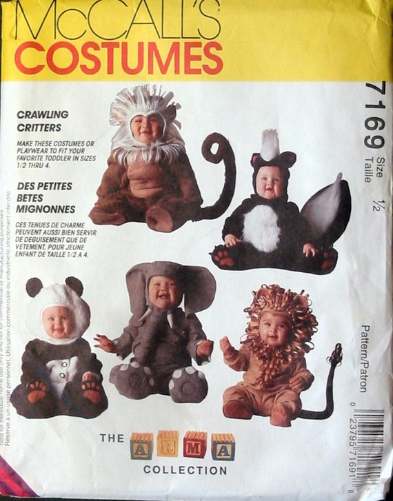 UNCUT Size 1/2 Toddlers Crawling Critters Costumes Sewing Pattern McCalls 7169