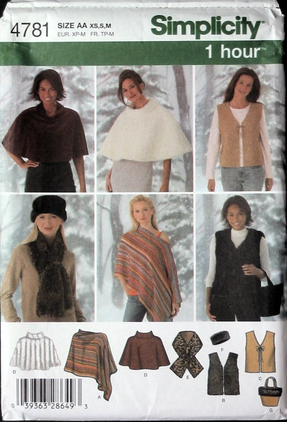 UNCUT 1 Hour  Easy Ponchos, Capelets, Bag,  Vests, Headband, Scarf.  Simplicity Sewing Pattern (4781)  Sizes Xs  S  M