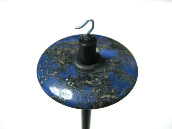 Blue Advenurine with Pyrite - Top Whorl Drop Spindle - Unique