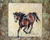 Galloping horse, mixed media, 12x12 original painting,