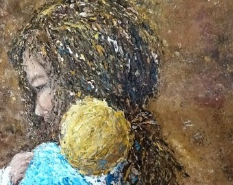 mother and child, large 24x48 original textured painting of angel, mother, young child, entitled Pure Contentment