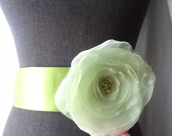 Light Green Organza Flower Brooch/hair clip with Assorted Green Czech Beads