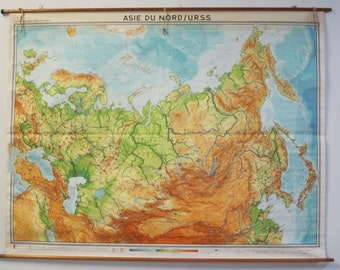 Vintage Belgian Topographic Map of USSR and Northern Asia