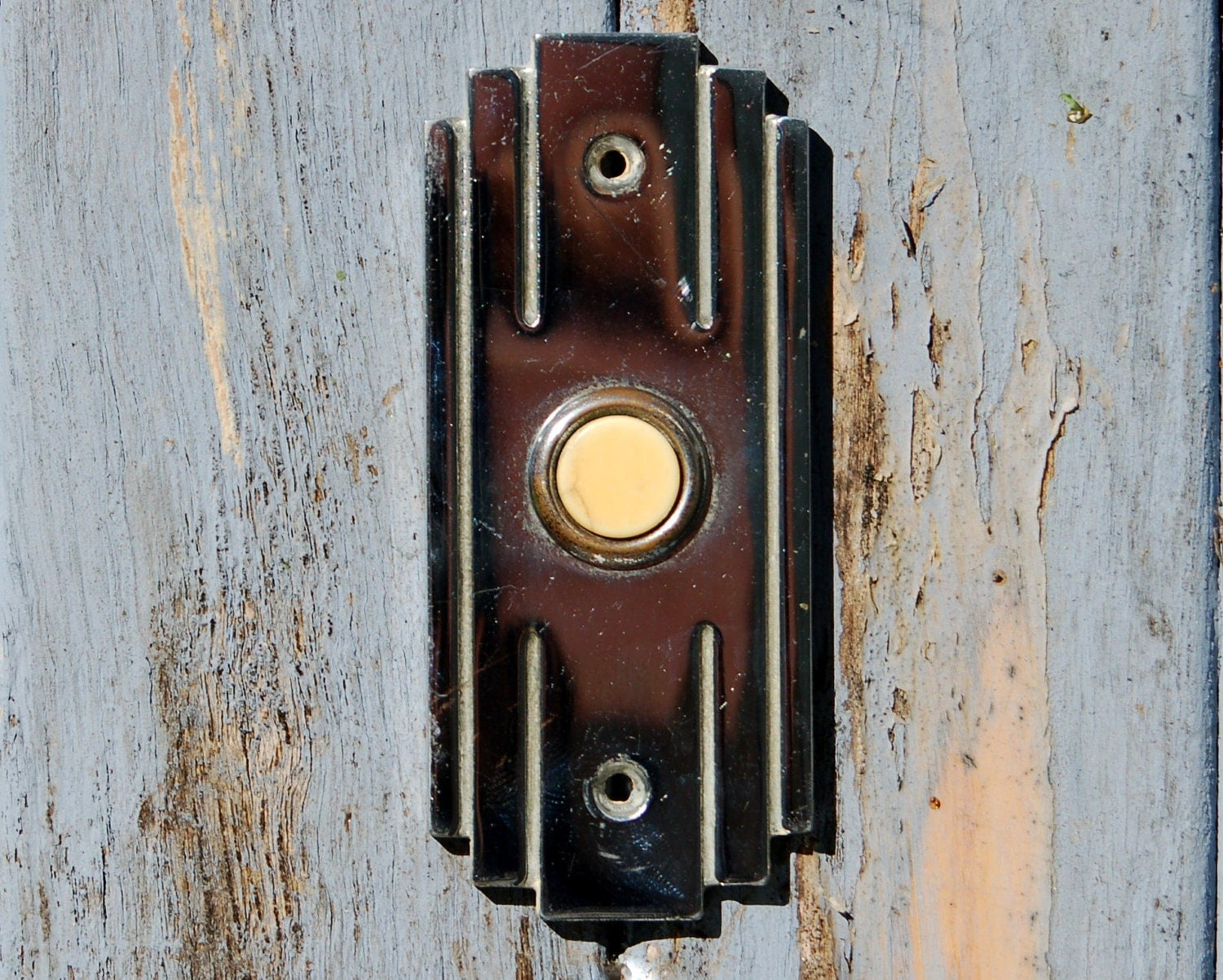 Antique Rectangle Doorbell Push Button Art Deco Chrome