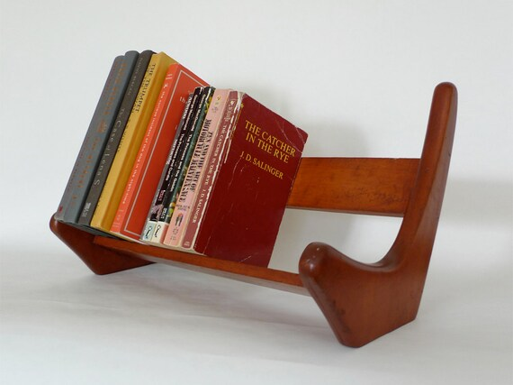 Mid Century Wood Book Rack