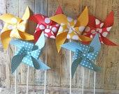 Pinwheels - Vintage Circus Inspired - set of 6 Pinwheels