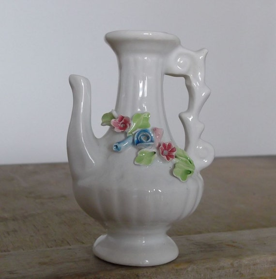 Old Vintage Italian  Decorative Porcelain Pitcher  Capo Di Monte  Houseware  Home decor