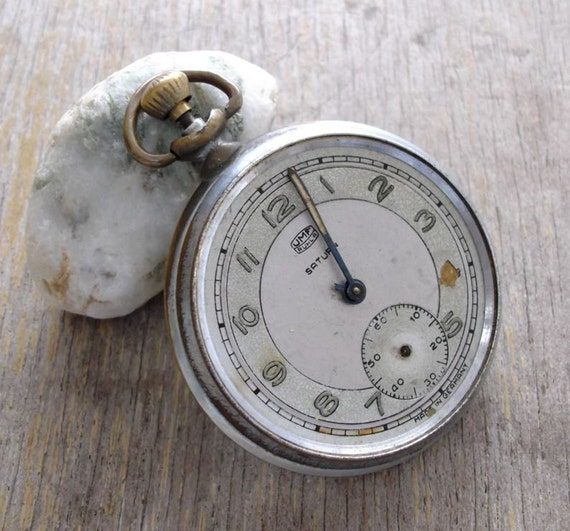 Vintage made in Germany  Saturn  Pocket  Watch movements  Watch parts  Watch face   Watch case  Supplies Finding  Steampunk  Gothic
