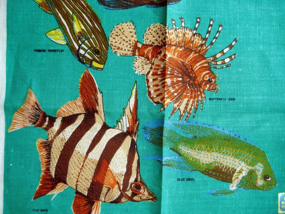 Vintage Australian Linen Tea Towel Australian Fishes UNUSED with LABEL