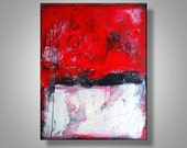 Original Abstract Painting Red Black Canvas TiedemannArt