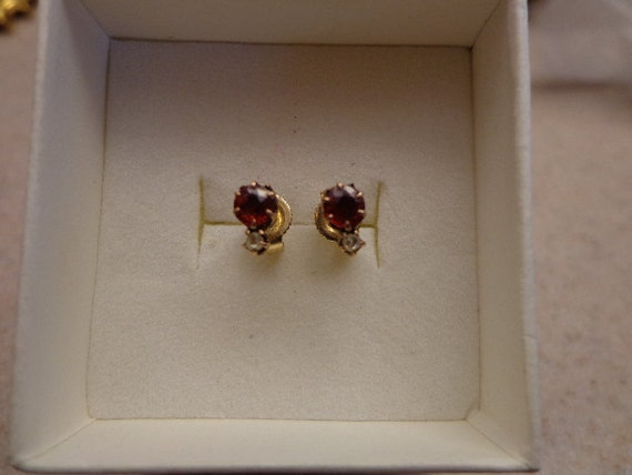 Antique Gold Rose Cut Diamond & Gemstone Stud Earrings
