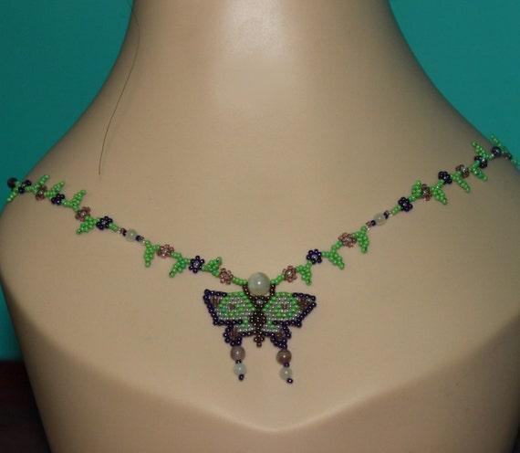 Purple and Green Garden Bohemian Butterfly SET