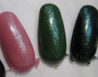 Oak Evolution Green Shimmer Sparkle Fleck Top Coat Custom Nail Polish 5mL