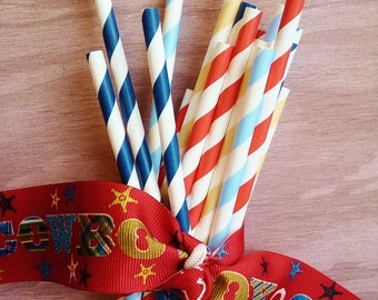 COWBOY 80 Paper Party Straws, Sky Blue,Tumbleweed Tan, Poker Chip  Red and Denium Blue mix of Stripes, Western BBQ