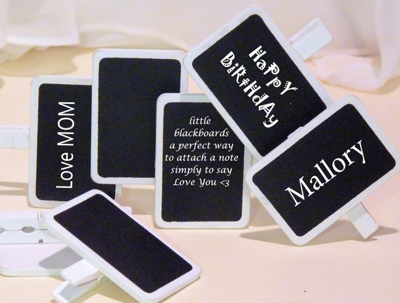 DIY Labels - Advertise Your Crafts 8 Mini Wood Black Boards with White  Clip and frame, Candy Bars, Place Settings, Personalized Favor Bags