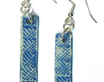 jewelry earrings made in 'ancient'  blue in paper clay