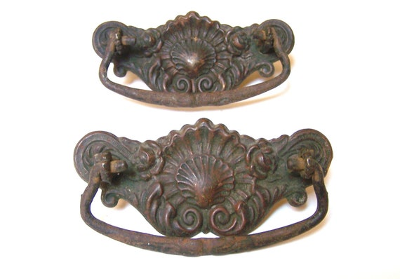 Architectural salvage - vintage pair of metal drawer pulls - cabinet hardware