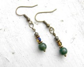 CLEARANCE SALE - Forest Earrings - Boho Chic - Earthy Jewelry - Moss Agate - Pyrite - BOHEME Collection