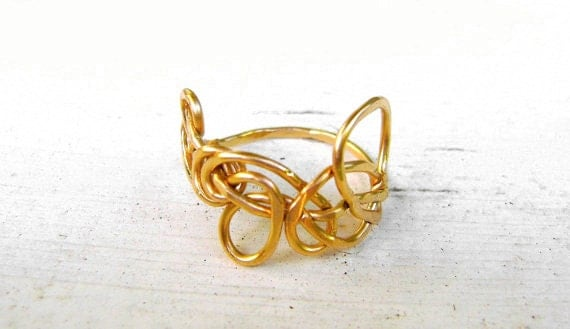 Swirly Abstract Ring - Gold Ring - Fairy Tale Ring - Child's Ring - Small Ring - FEY Collection
