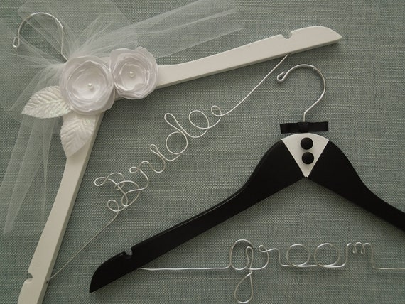 RESERVED FOR ITZEL Elegant Deluxe Bride and Groom Hanger, Bridal Shower Gift,