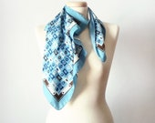 Blue geometry - Vintage scarf, blue scarf, summer blue and brown scarf, summer fashion