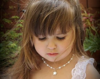 Flower Girl Necklace - White Pearl Necklace - Thank You Gift - Star Necklace - Girls Jewelry - Flower Girl Gift