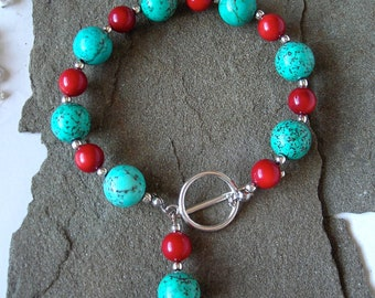 Howlite Turquoise and Sterling Silver -The Fire Bracelet