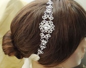 Swarovski Crstal Bridal Ribbon Flower Headband, Rhinestone Wedding Hair Accessories, Bride Headpiece, Bridesmaid Jewelry-112646805