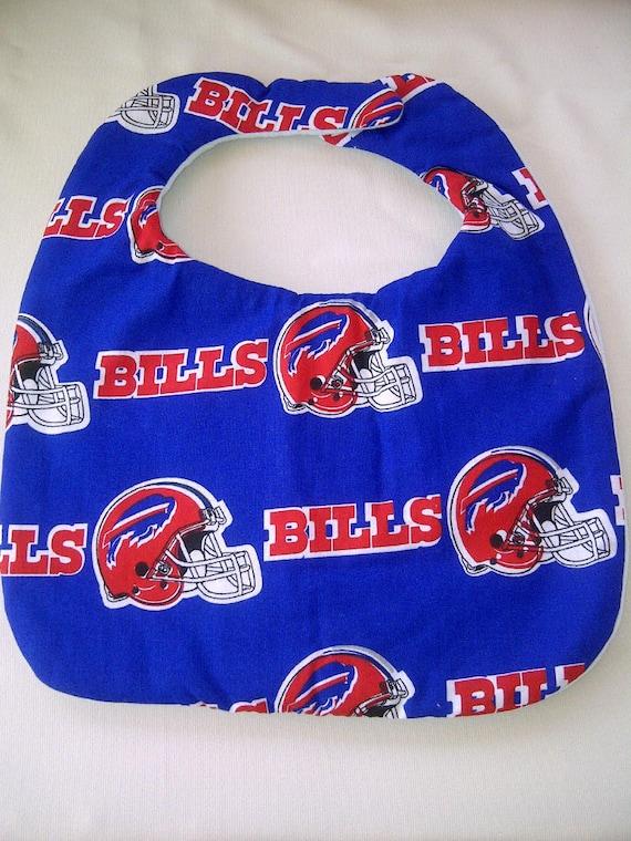 Hand Crafted Buffalo Bills NFL Red Logo on Blue Baby Bib