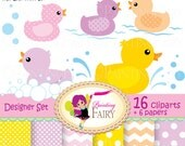 Digital clipart Rubber duck Duckling Baby papers Fun colorful scrapbooking paper pack DIY Personal & Commercial Use pf00045-1