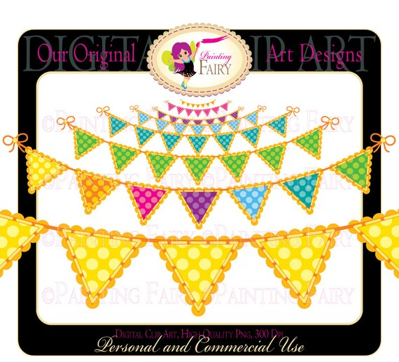 Colorful clipart Scalloped Rainbow Bunting Party Clipart vibrant colors polka dots digital image element personal & commercial use pf00030-1