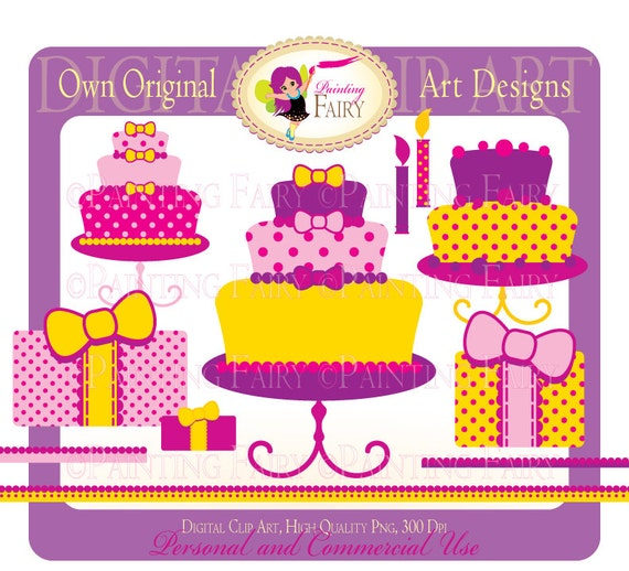 Digital Clipart Happy Birthday Fun pink purple yellow cake clip art Girls colors elements digital images personal & commercial use pf00007-5