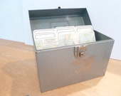 Vintage Metal File Box, Industrial, Home Decor, Office, School, Box