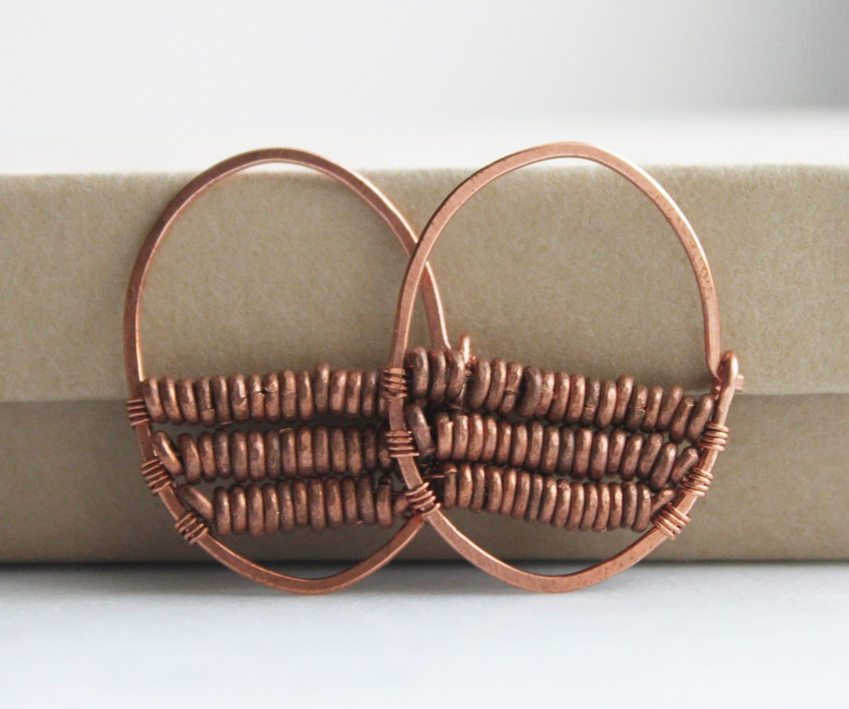 Beaded hoop earrings wire wrapped jewelry handmade by prairiefunk