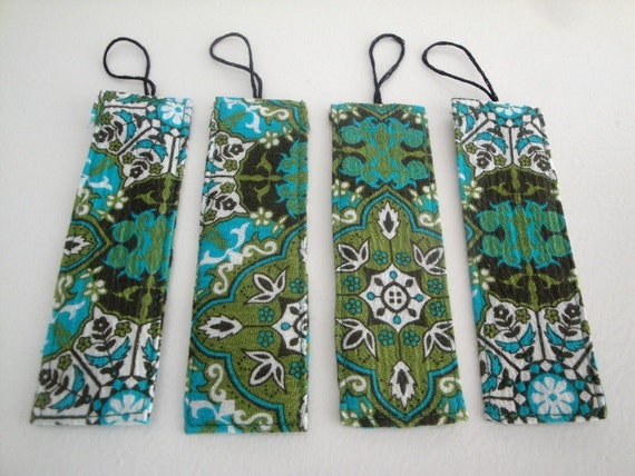 Set of four Oriental pattern fabric bookmark lot bookmarks