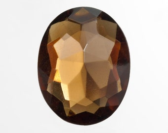 24Pcs Faceted Focal Gem, Large 22x30mm, Vintage Topaz Amber Glass Oval Cut, Wholesale Big Lot, Bulk Discount Destash, DIY Jewelry Stone